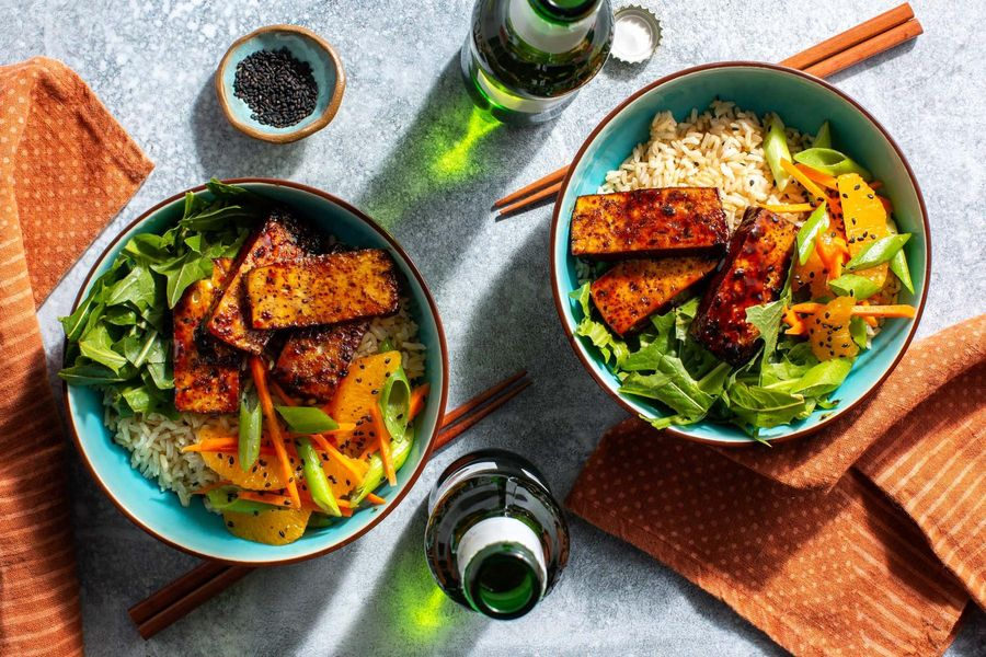 Sweet and sticky tofu rice bowls with pickled greens