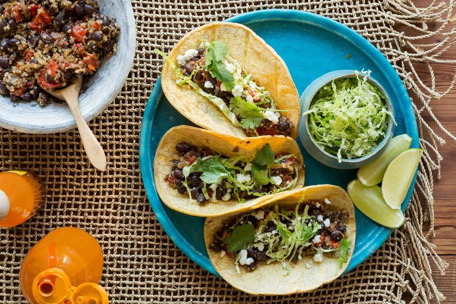 Quinoa and black bean tacos with cabbage slaw