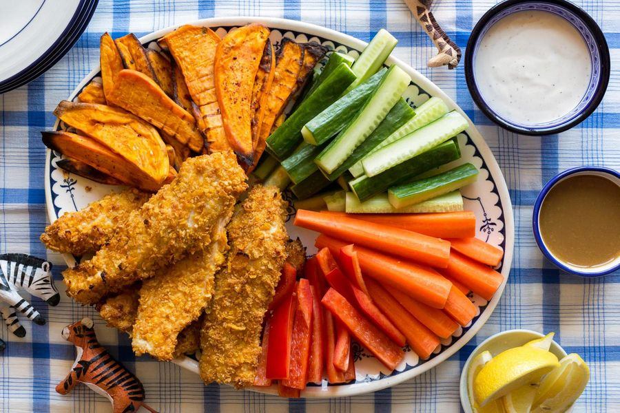 Cornflake-crusted chicken tenders with dipping sauces