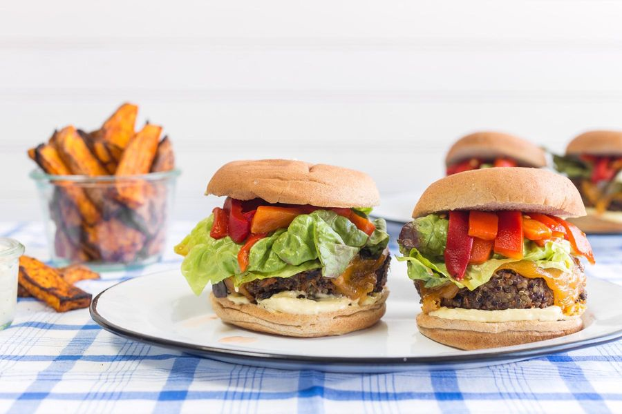 Black bean-quinoa burgers with sweet potato fries