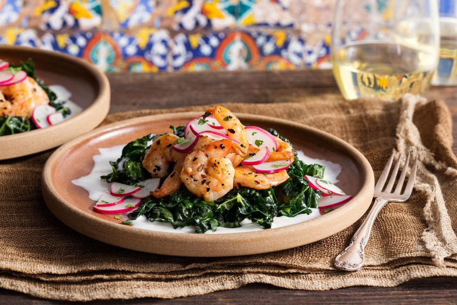 Spiced shrimp with chard and ajo blanco sauce