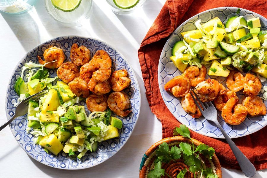 Chipotle-marinated shrimp with pineapple-cucumber salad