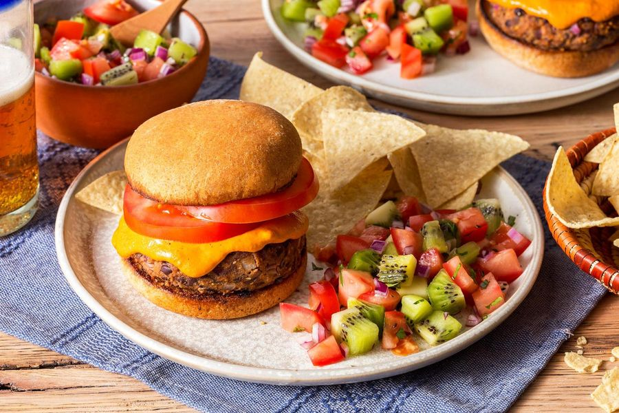 Black bean burgers with tortilla chips and pico de gallo