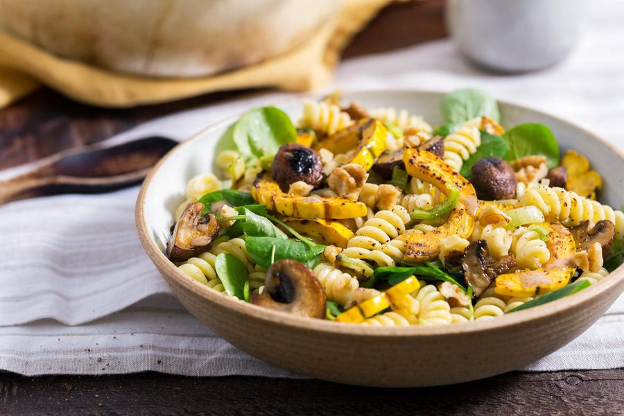 Warm fusilli salad with roasted winter squash and mushrooms