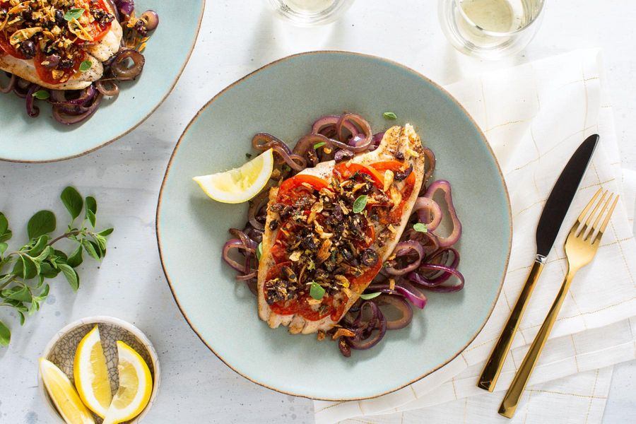 Roasted sole with caramelized onions and fried shallot–olive tapenade