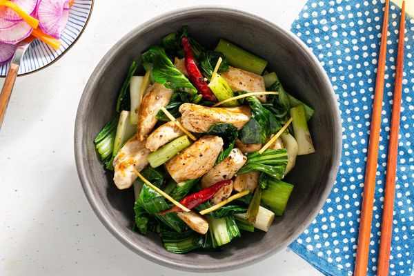 Ginger chicken and bok choy stir-fry with pickled daikon salad