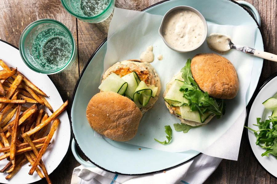 Salmon burgers with caper remoulade and roasted matchstick fries