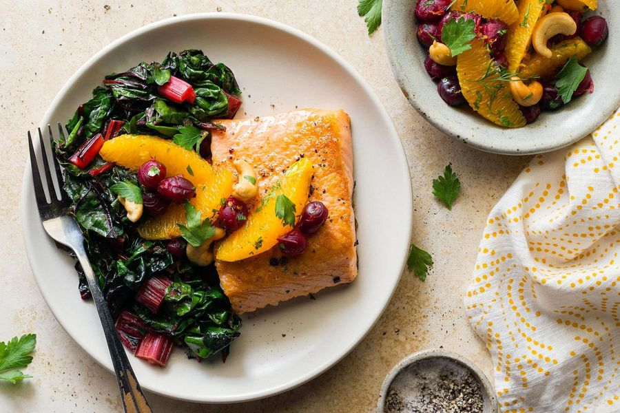 Salmon with chard and cranberry-orange relish