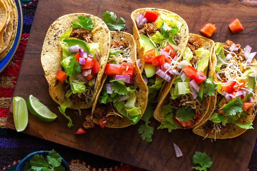 Fully loaded beef tacos with Mexican simmer sauce