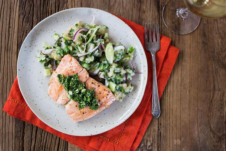 Seared salmon with herb couscous and cilantro pesto