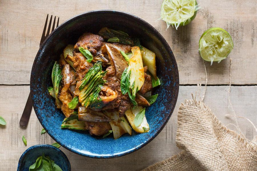Jungle curry with pork, bok choy, and eggplant