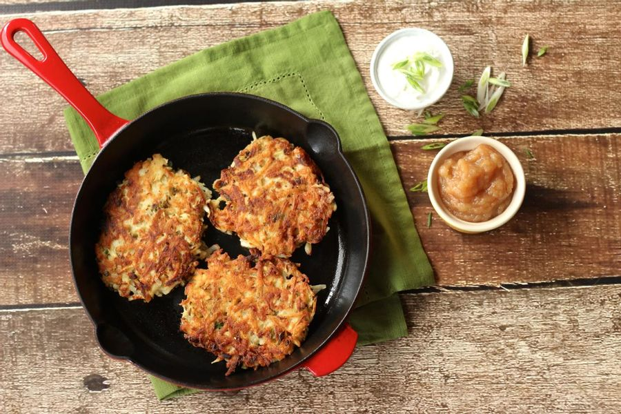 Potato-parsnip fritters with homemade applesauce