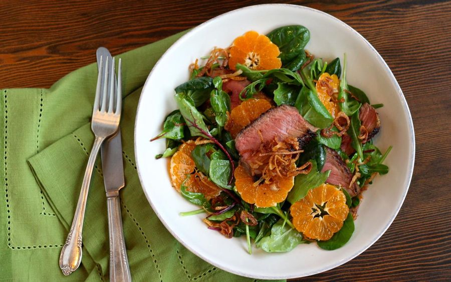 Steak salad with Satsuma oranges & fried shallots (DON