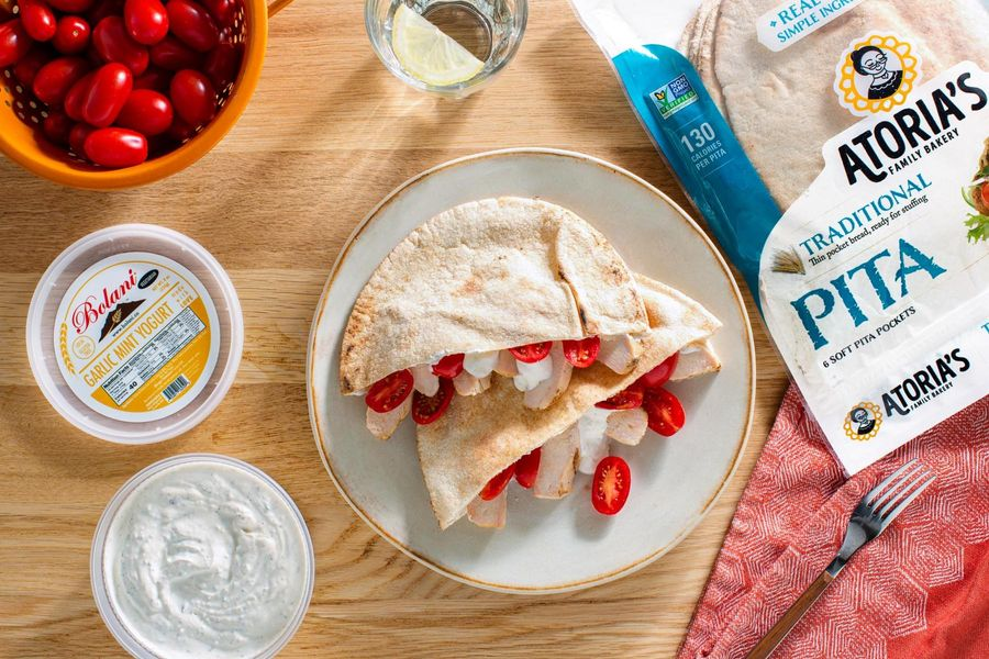 Pitas Stuffed With Organic Grilled Chicken, Tomatoes, and Yogurt Sauce