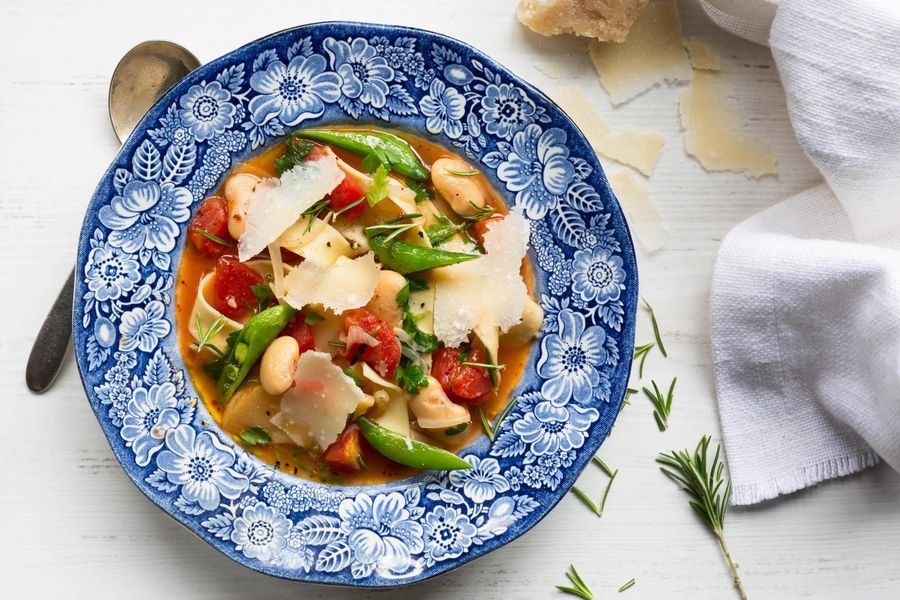 Spring vegetable stew with pappardelle