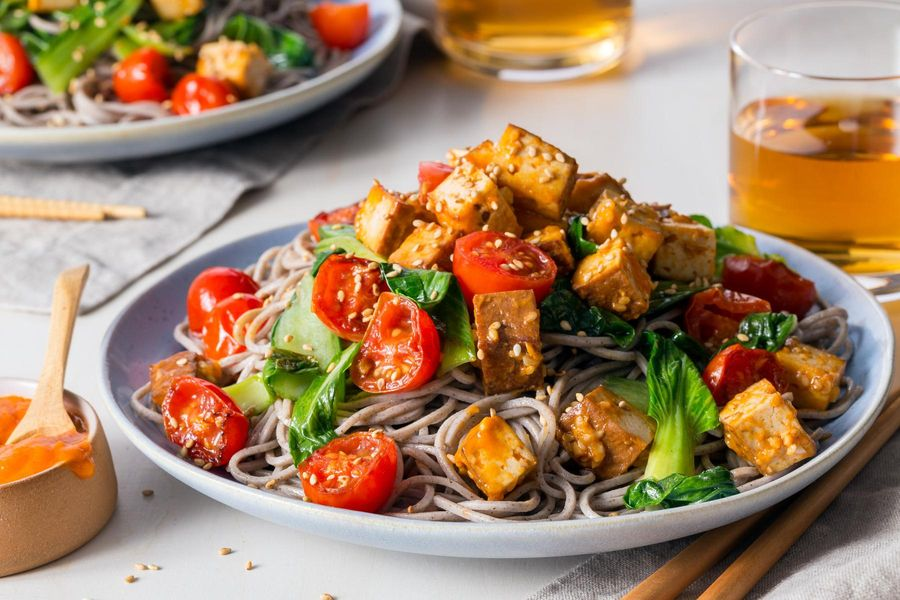 Five-spice tofu stir-fry with soba noodles and spicy chile-mango sauce
