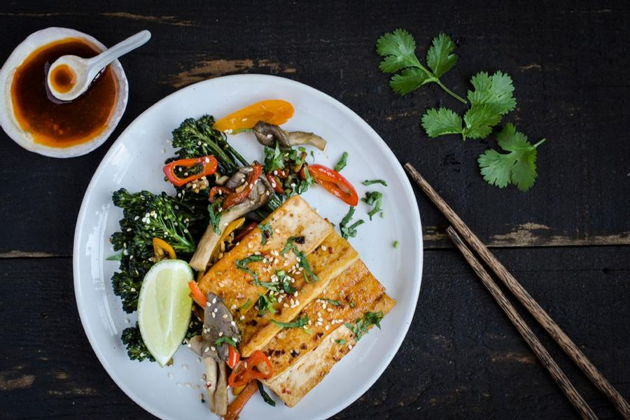 Marinated tofu with broccolini and oyster mushrooms