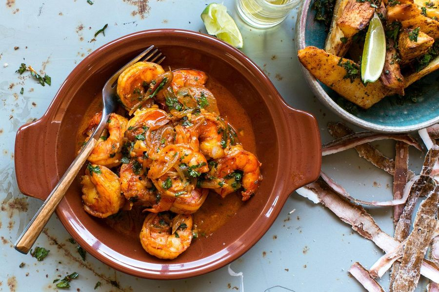 Yucatan-style shrimp with crisp cassava asado wedges