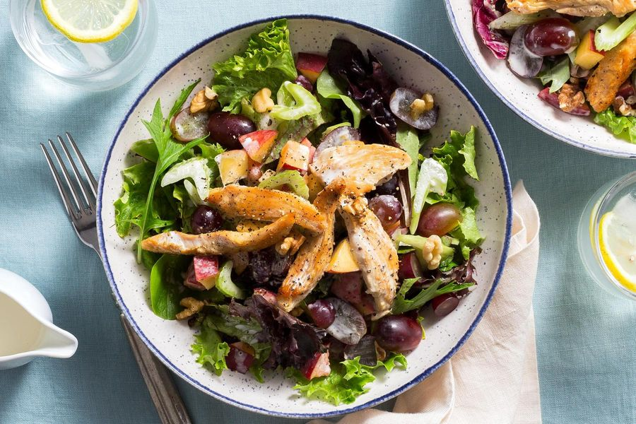 Waldorf chicken salad with walnuts, grapes, and peach slices