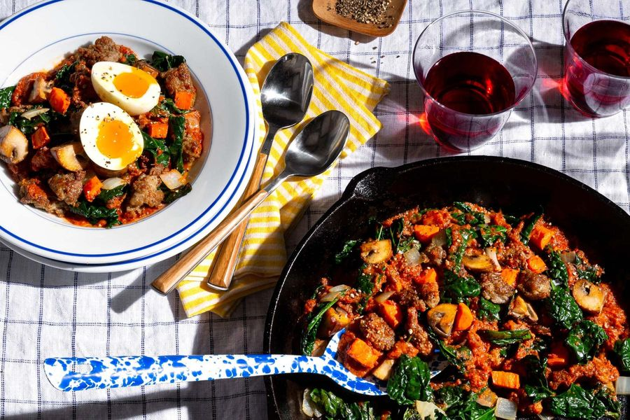 Italian sausage and vegetables in marinara with soft-cooked eggs