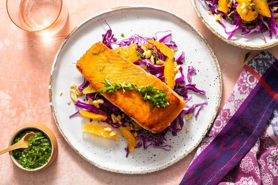 King Salmon with chile-lime sauce and citrus-cabbage slaw