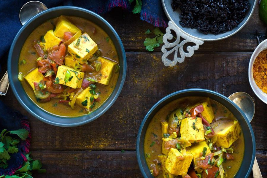 Madras curry tofu with black rice