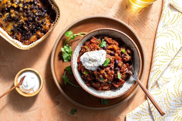 Beef chili with cheddar and Greek yogurt