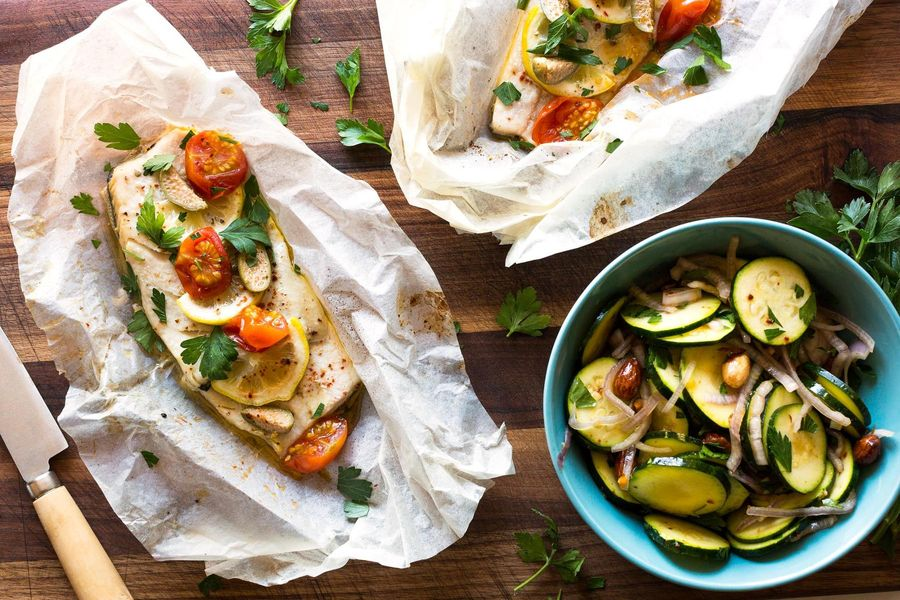 Trout in parchment with zucchini-almond salad