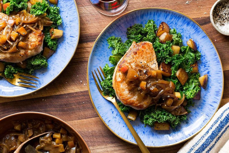 Pork chops with pears, kale, and maple-shallot jam