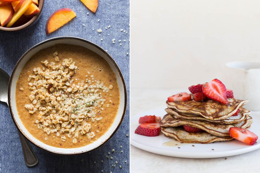 Peach smoothie bowls with granola topping & Whole grain pancakes with strawberries