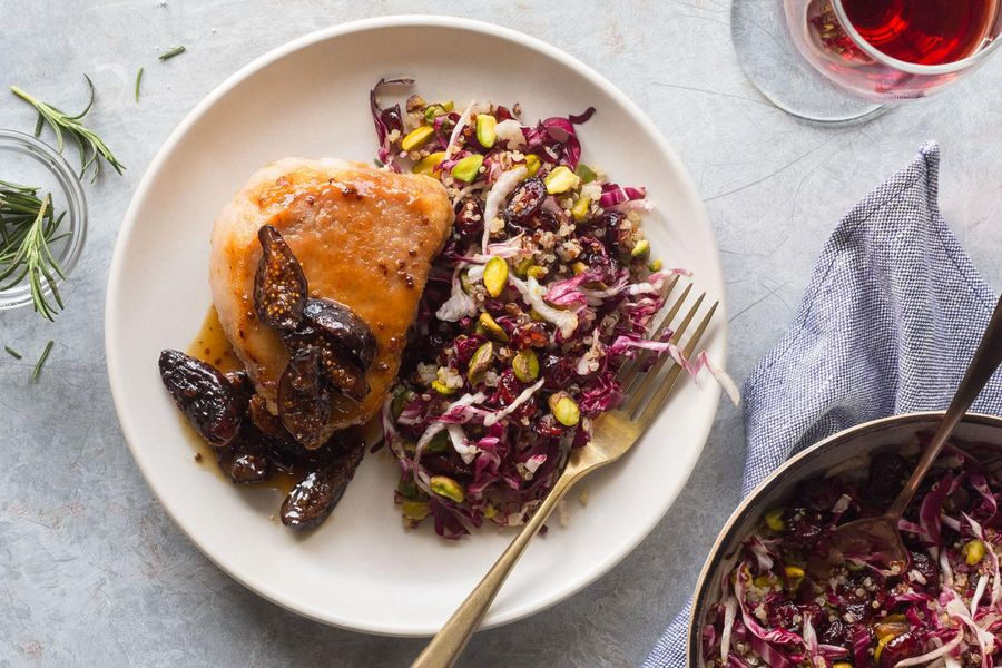 Pork chops with fig sauce and quinoa–dried cherry salad
