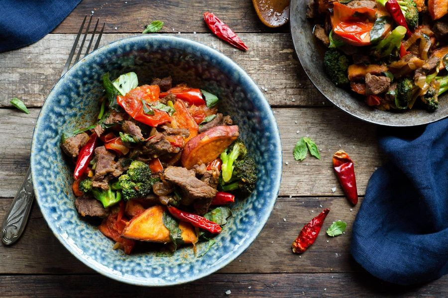 Stir-fried beef with tomato, basil, and sweet potatoes