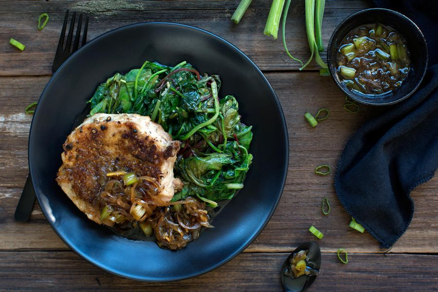 ... Basket: Lemongrass and coriander-crusted pork loin with Asian greens