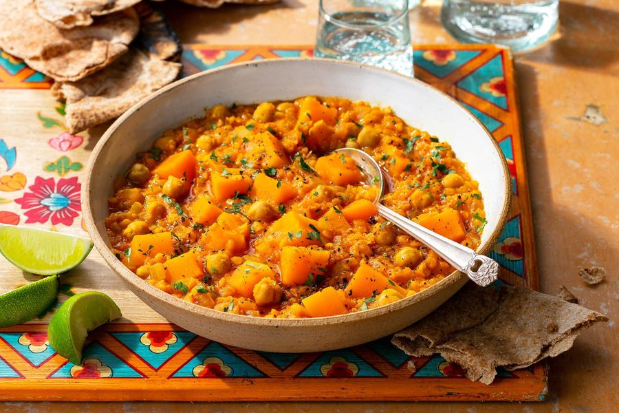 Red lentil and chickpea dal with butternut squash and pita