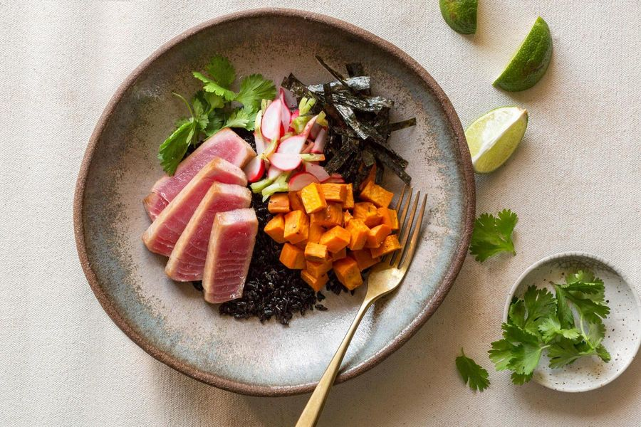Seared tuna and black rice bowls with roasted sweet potato and nori