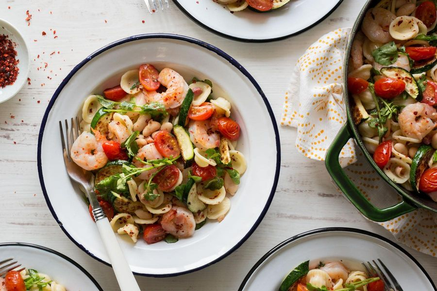 Pasta with shrimp, pancetta, and roasted summer vegetables