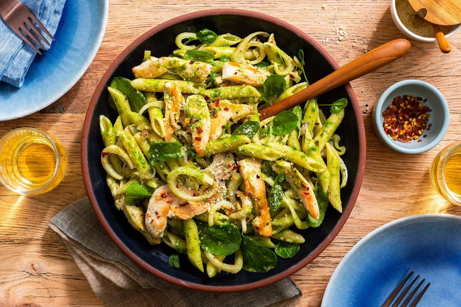 Superfast pesto penne with chicken, fennel, and Parmesan