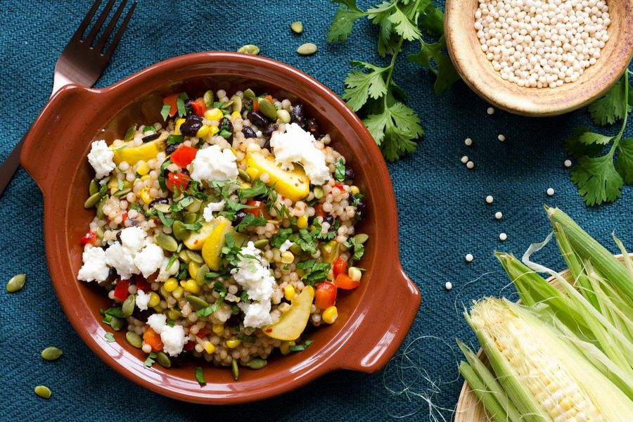 Fregola salad with black beans, corn, and red pepper