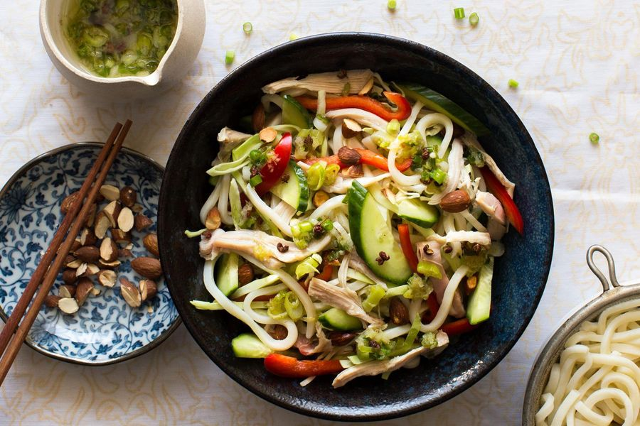 Sichuan chicken noodle salad with ginger-scallion sauce