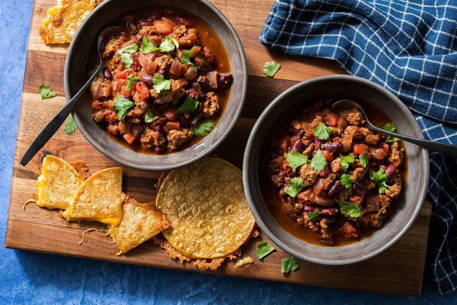 Turkey chili with kidney beans and cheesy quesadillas