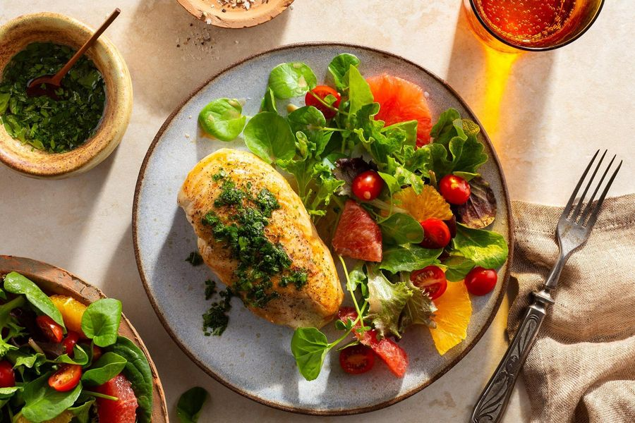 Chicken breasts with zhug and citrus salad