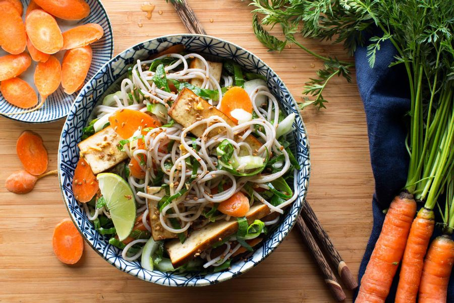 Five-spice braised tofu and soba salad with baby bok choy and mint