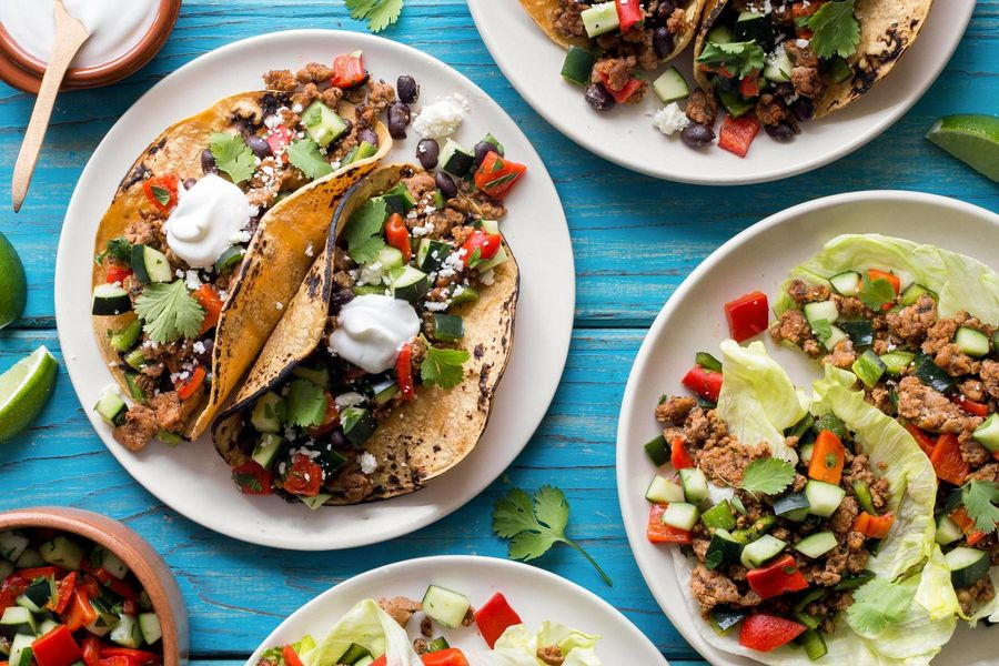 Turkey tacos with cucumber–red pepper salsa