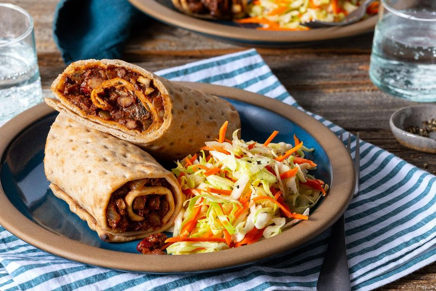 Two-bean sloppy joe wraps with mushrooms and tangy coleslaw