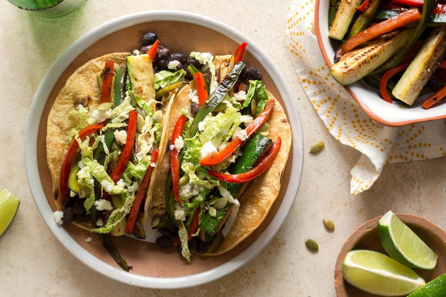 Seared summer squash and black bean tacos with cabbage slaw