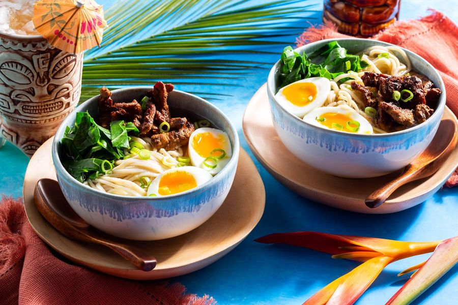 Saimin noodle soup with char siu pork and soft-cooked eggs