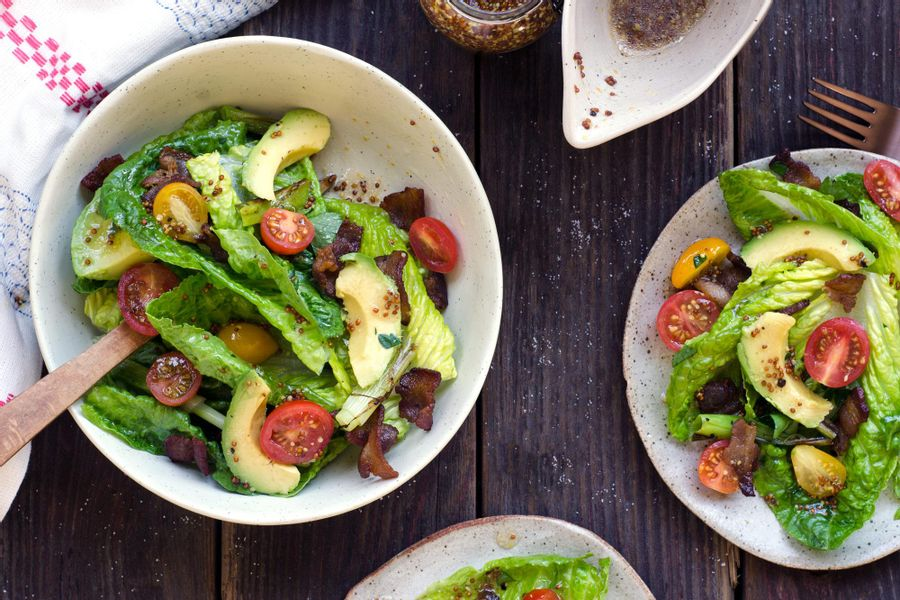 Bacon, avocado and little gem salad