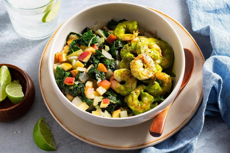 Malaysian shrimp curry with apple and chard