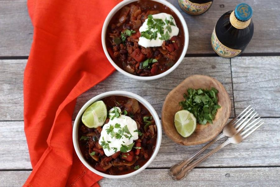 Chorizo chili with black beans and poblano pepper