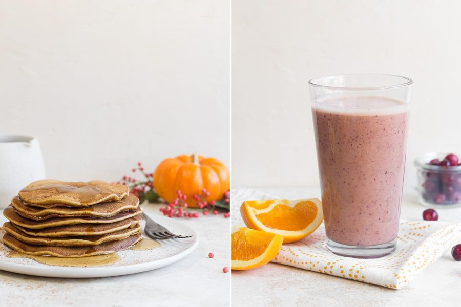 Two breakfasts: Pumpkin spice pancakes & Cranberry-orange smoothies
